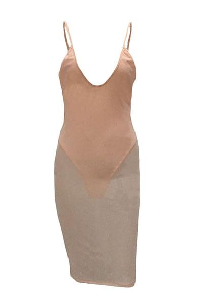 Сексуальный V-образный вырез без рукавов Прозрачный розовый полиэфирный платок с коленом (с подкладкой)