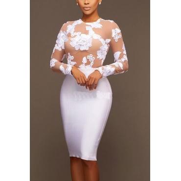 Cotton Blend Sexy O neck Long Sleeve Sheath Knee Length Dresses