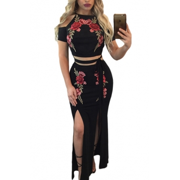 Trendy Round Neck Short Sleeves Embroidery High Split Black Qmilch Two-piece Skirt Set