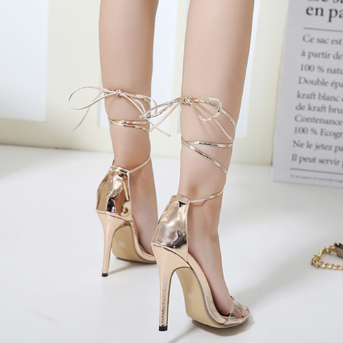 Stylish Point Peep Toe Lace-up Stiletto Super High Heel Champagne PU Sandálias de tornozelo