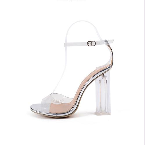 Elegante Ponto Peep Toe See-Through Chunky Super salto alto prata sandálias de plástico