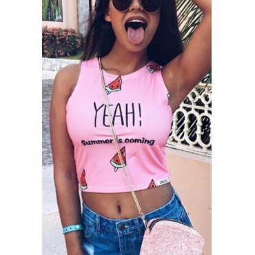 Leisure Round Neck Sleeveless Letters Printed Pink Cotton Tank Top