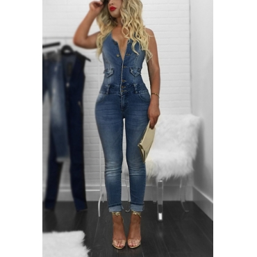 Denim Solid Regular Jumpsuits