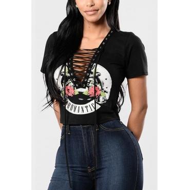 Sexy Deep V Neck Short Sleeves Printed Black Polyester T-shirt