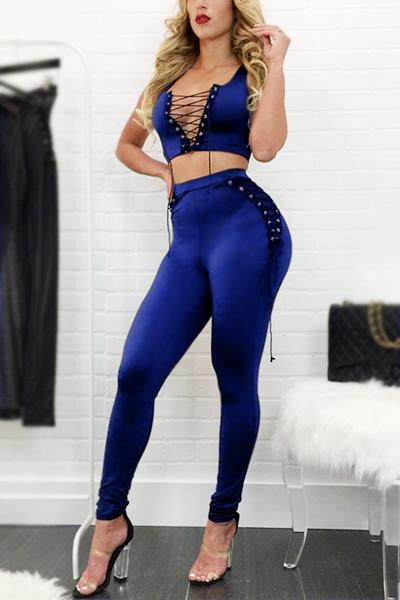 Stylish V Neck Sleeveless Lace-up Hollow-out Blue Cotton Blend Two-piece Pants Set
