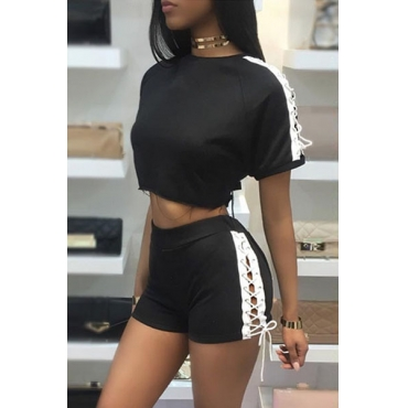 Black Polyester Shorts Color Block O neck Short Sleeve Casual Two Pieces