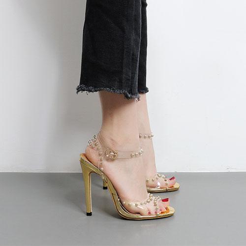 Plastic Stiletto Super High Fashion Ankle Strap Sandals