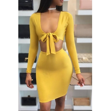 Milk Fiber Sexy V Neck Long Sleeve Sheath Mini Dresses