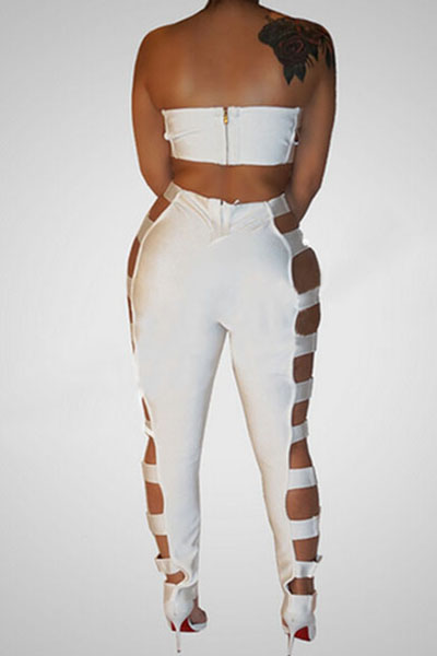 Sexy Hollow-out White Healthy Fabric Two-piece Pants Set