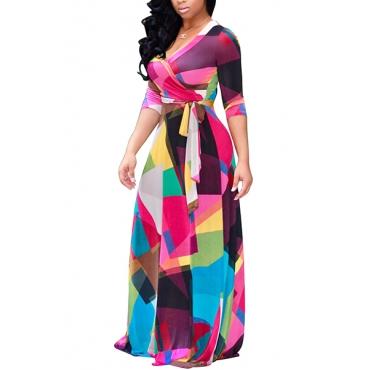 Euramerican V Neck Three Quarter Sleeves Digital Printing Healthy Fabric Floor Length Dress