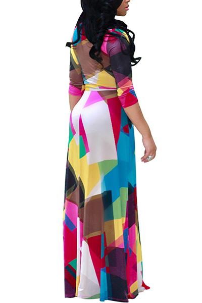 Euramerican V Шея Три Четверти Рукава Цифровая Печать Здоровая Ткань Этаж Длина Платье