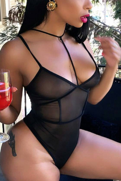 Sexy See-Through Black Gauze One-piece Skinny Jumpsuits