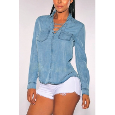Leisure Turndown Collar Long Sleeves Hollow-out Blue Polyester Shirts