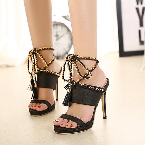 Trendy Point Peep Toe Corrente Decorativa Stiletto Super High Heel Preto PU Sandália com tornozelo Sandálias