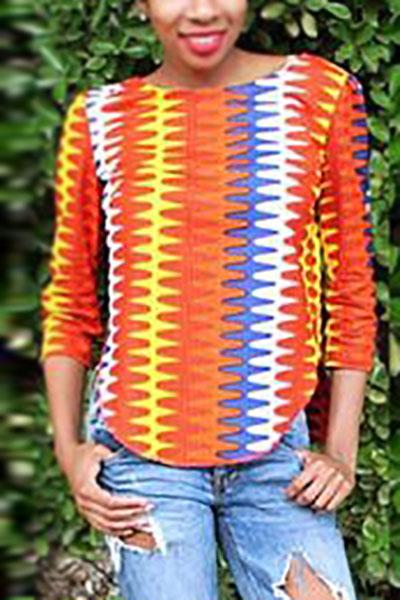Elegante cuello redondo mangas cortas impresas lado partido rojo-amarillo poliéster camisas