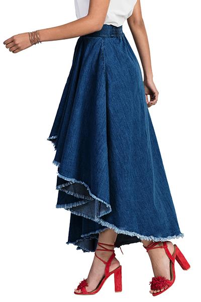 Стильная эластичная талия Асимметричная синяя джинсовая юбка с длинными юбками
