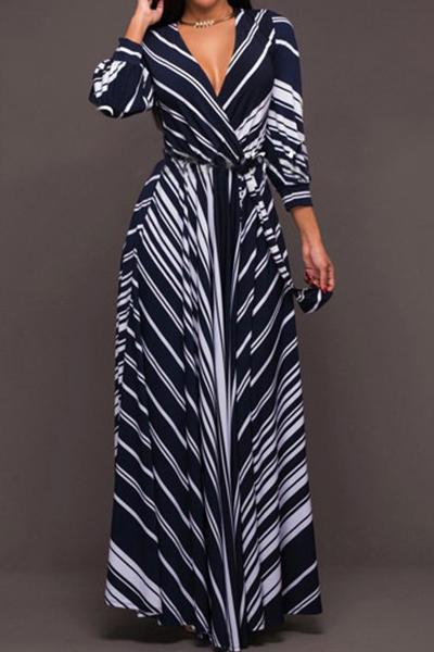 Stylish V Neck Long Sleeves Striped Milk Fiber Floor Length Dress