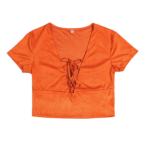 Leisure V Neck Short Sleeves Lace-up Hollow-out Brown Polyester T-shirt
