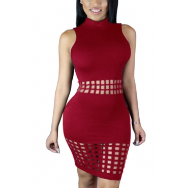 Стильный воротник Мандарин воротник рукавов полые из красного вина полиэстер оболочки колена платье для длинных