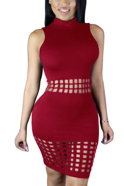 Elegante Mandarin Collar Tank sem mangas oco-Vinho vermelho poliéster bainha joelho comprimento vestido