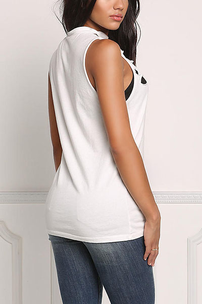 Sexy V Neck Sleeveless Hollow-out White Polyester T-shirt