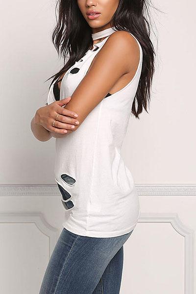 Cuello sexy V sin mangas hueco-Poliéster Blanco-camisa
