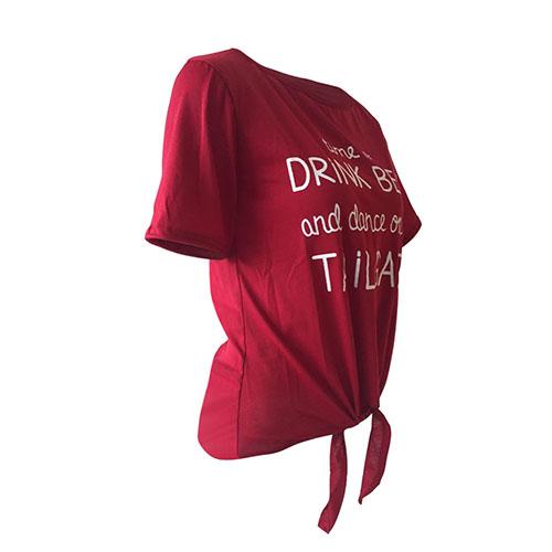 Отдых Круглый Шеи Короткие Рукава Письма Печатаются Вино Красный Полиэстер Т-рубашка