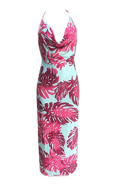 Sexy V Шея без рукавов Backless фиолетово-синего молока волокна оболочки лодыжки длины платье