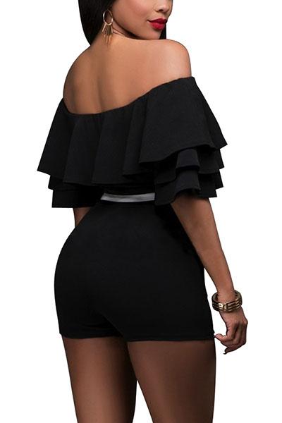 Fashion Dew Shoulder Falbala Design Black Knitting One-piece Skinny Jumpsuits