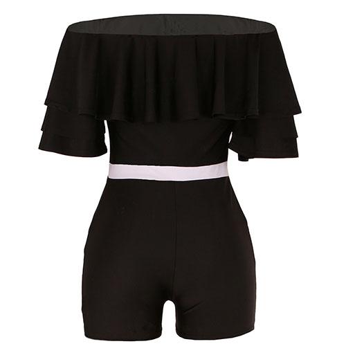Moda Dew hombro falbala diseño negro que hace punto uno-piece Monos flacos