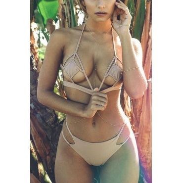 Sexy Hollow-out Apricot Polyester Two-piece Swimwear