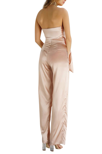 Sexy Bateau Neck Sleeveless Knot Design Champagne Satin Two-piece Pants Set