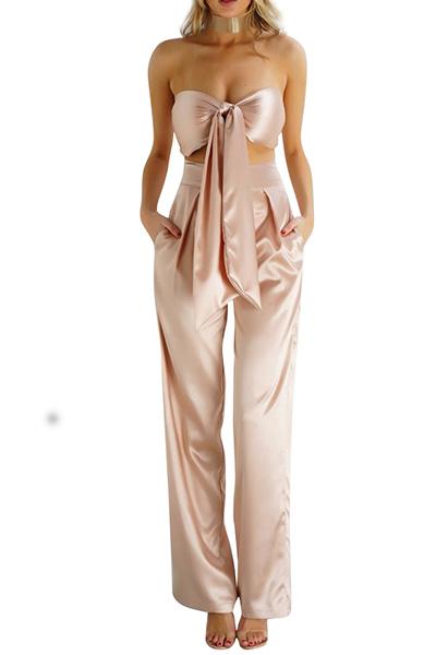 Sexy Bateau Neck Sleeveless Knot Design Champagne Satin Two-piece Pants Set