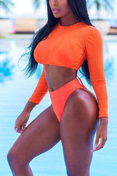 Euramerican Orange Polyester Three-piece Swimwear