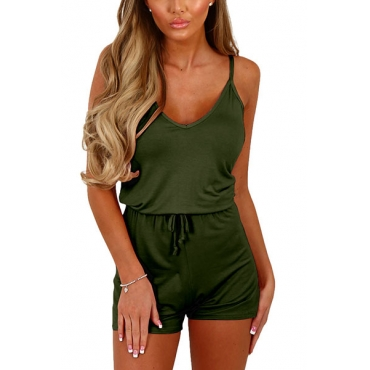 Sexy V Neck Spaghetti Strap Sleeveless Army Green Qmilch One-piece Jumpsuits