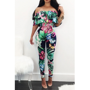 Charming Bateau Neck Short Sleeves Floral Print Qmilch One-piece Skinny Jumpsuits