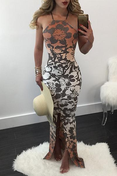 Healthy Fabric Fashion O neck Spaghetti Strap Sleeveless Sheath Floor length Dresses
