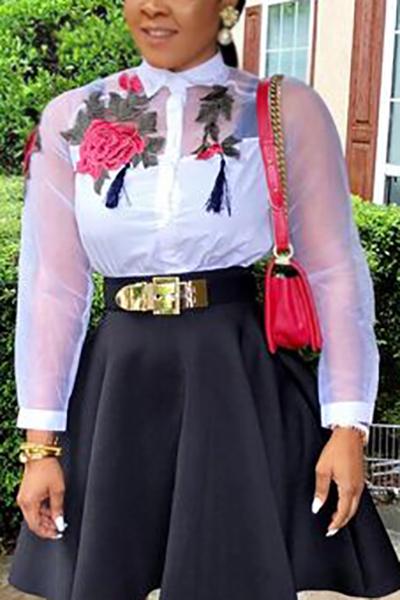 Cardigan Algodón Blends V cuello manga larga Blusas de impresión y camisas