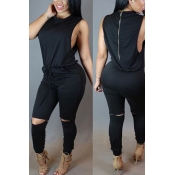 Casual O Neck Tank Sleeveless Drawstring Hollow-out Black Polyester One-piece Skinny Jumpsuits