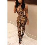 LovelySexy Deep V Neck Sleeveless Backless Gold  Sequined One-piece Skinny Jumpsuits
