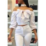Stylish Bateau Neck Long Sleeves Bow-Tie Decorative White Cotton Shirts(Without Choker)