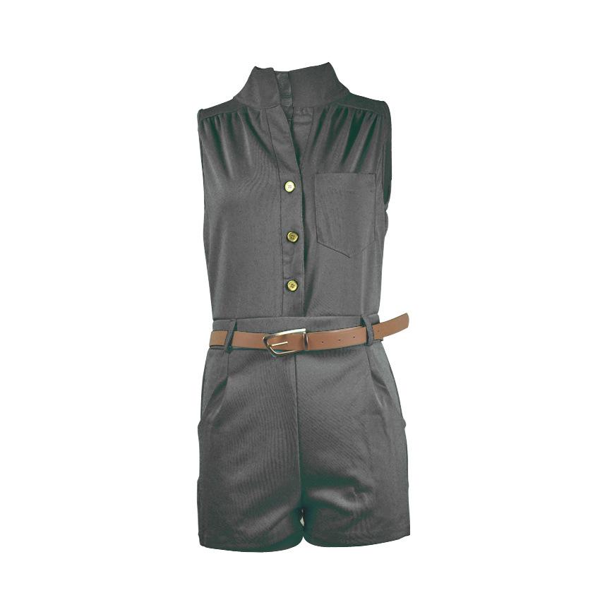Moda de cuello redondo sin mangas botón de diseño de poliéster negro monos de una sola pieza (con cinturón)