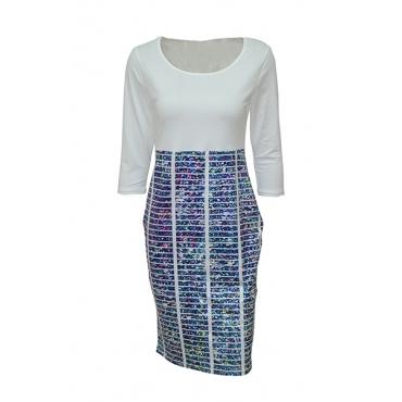 Stylish Round Neck Three Quarter Sleeves Printed Patchwork Blue Polyester Sheath Knee Length Dress