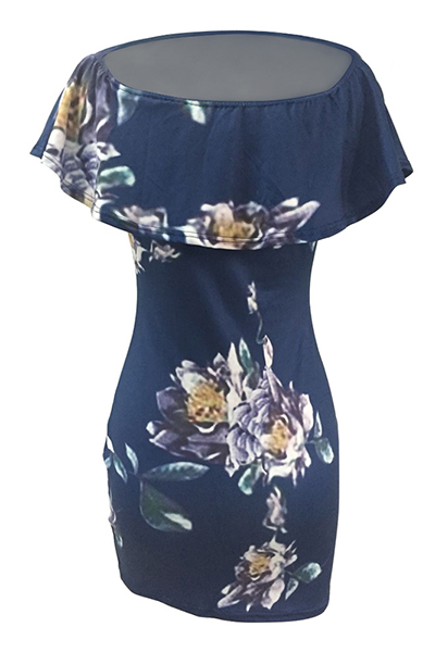 Bateau cuello corto manga corta impresión floral azul Qmilch vaina Mini vestido