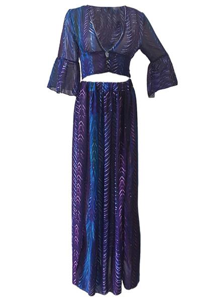 Сексуальная V Шеи Половина Рукава Напечатаны Высокий Разрез Фиолетовый Шифон Два-кусок юбка набор