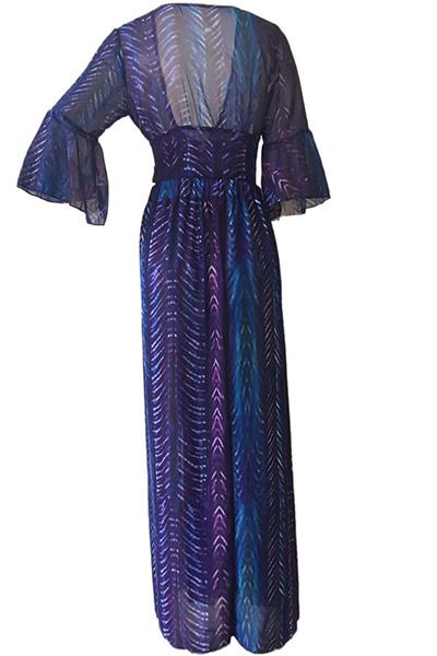 Cuello sexy V medias mangas impresas alta SPLIT gasa púrpura de dos piezas conjunto de falda
