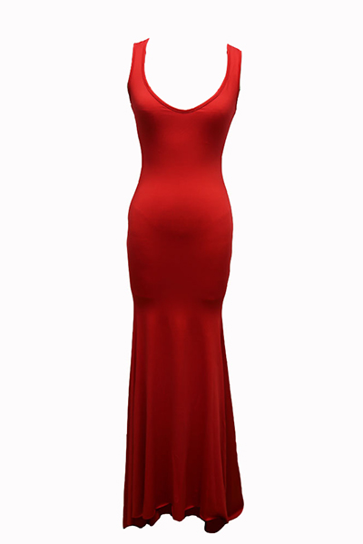 Lovely Euramerican U-shaped Neck Sleeveless Red Cotton Blend Sheath Floor Length Dress