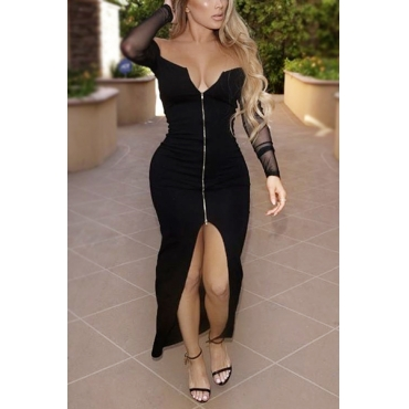 Trendy V Neck Long Sleeves Gauze Patchwork Black Polyester Sheath Ankle Length Dress