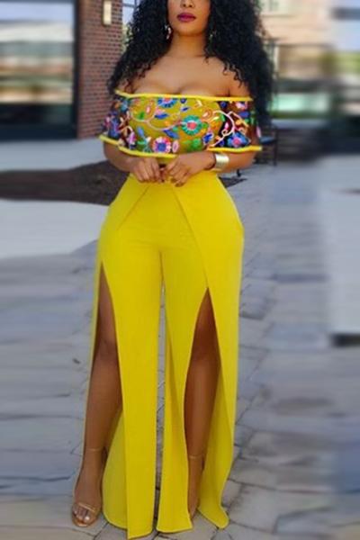 Elegante Bateau pescoço curto mangas High Split amarelo saudável tecido de uma peça macacões