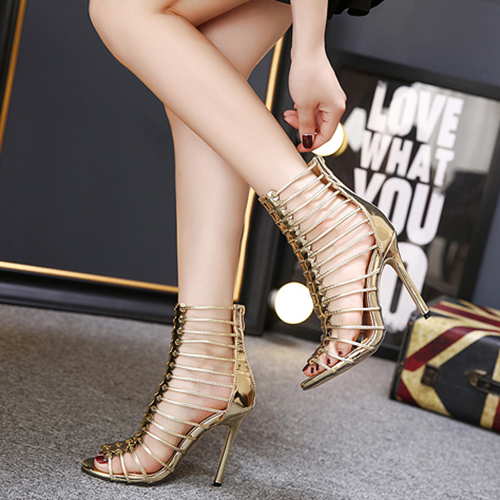 Fashion Pointed Toe Hollow-out Stiletto Super High Heel Gold PU Gladiator Sandals